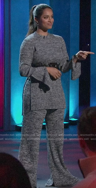 Lilly Singh's grey sweater tunic and pants on A Little Late with Lilly Singh