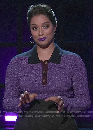 Lilly Singh's purple metallic polo top on A Little Late with Lilly Singh