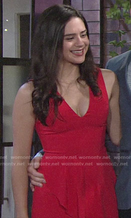Lola's red v-neck mini dress on The Young and the Restless