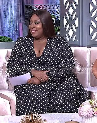 Loni's black polka dot dress on The Real