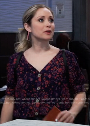 Lulu's floral button front top on General Hospital
