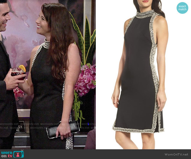 Mac Duggal Embellished Trim Sheath Dress worn by Liz on The Young and the Restless