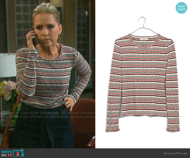 Madewel Elsie Stripe Button Sleeve Tee worn by Jennifer Horton (Melissa Reeves) on Days of our Lives