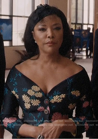 Mae's floral off-shoulder jacket on Greenleaf