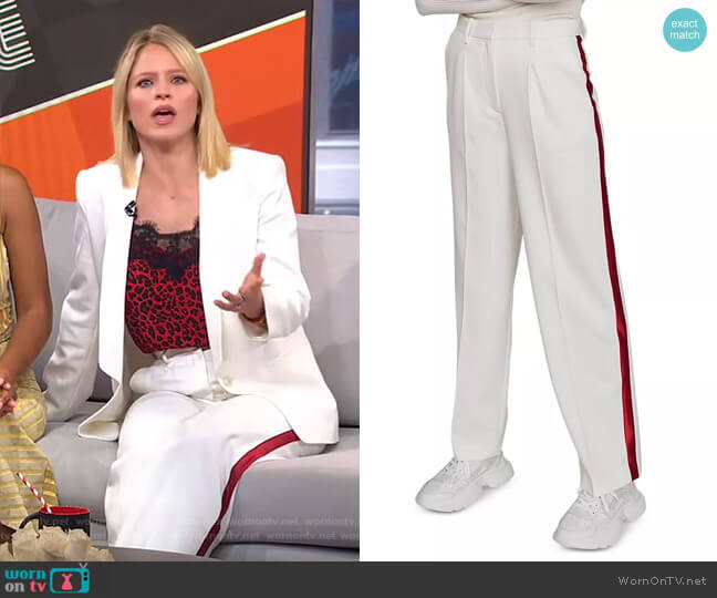 Paz Pleated Side-Stripe Pants by Maje worn by Sara Haines  on Good Morning America