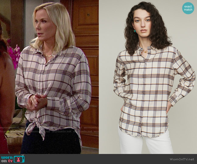 Maje Capali Plaid Loose Shirt worn by Brooke Logan (Katherine Kelly Lang) on The Bold & the Beautiful
