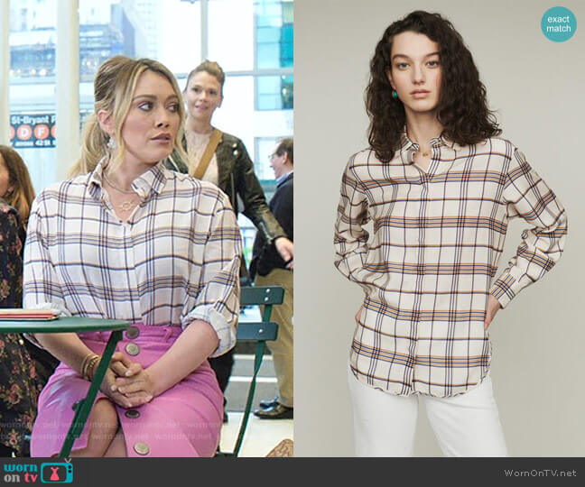 Capali Plaid Shirt by Maje worn by Kelsey Peters (Hilary Duff) on Younger