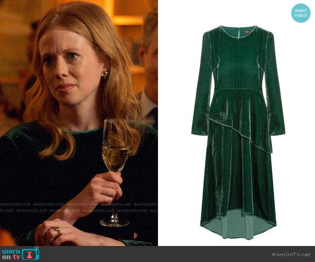 Maje Vevlet Midi Dress worn by Gemma (Zoe Boyle) on Four Weddings & a Funeral