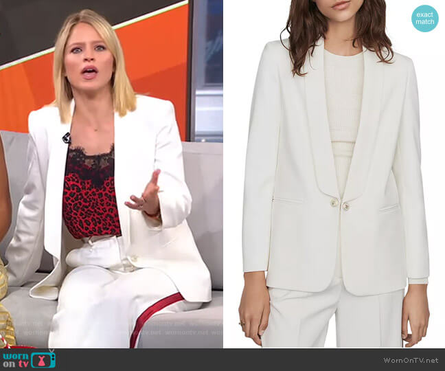 Vera Shawl-Collar Blazer by Maje worn by Sara Haines  on Good Morning America