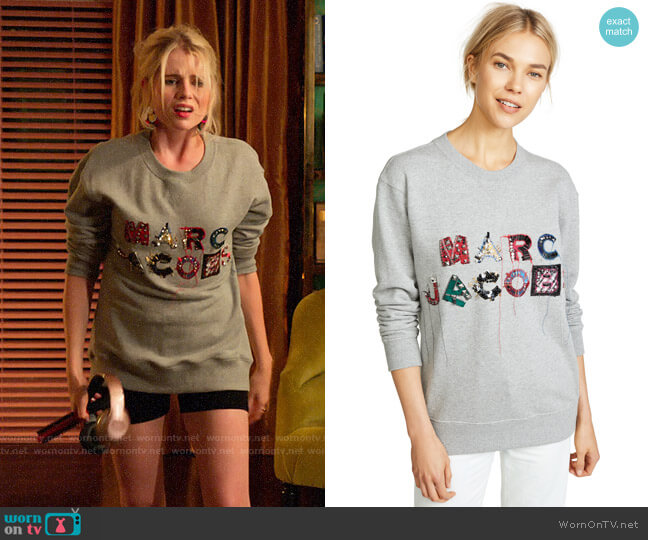 Marc Jacobs Lux Embellished Sweatshirt worn by Astrid (Lucy Boynton) on The Politician