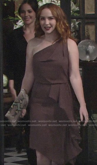Mariah's draped one-shoulder dress on The Young and the Restless
