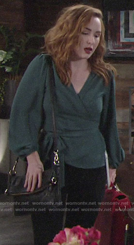 Mariah's teal wrap top on The Young and the Restless