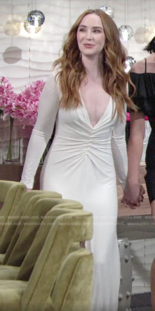 Mariah's white long sleeved dress with front ruching on The Young and the Restless