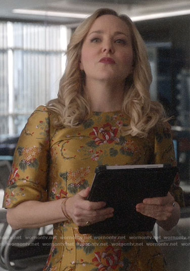 Marissa's gold floral dress on Bull