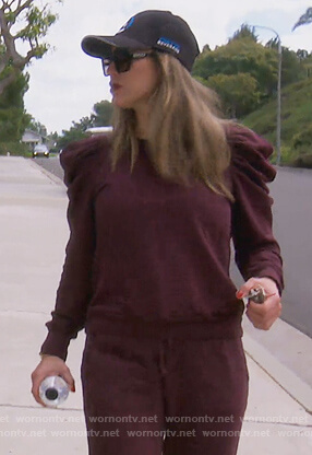 Kelly's maroon puff sleeve sweatshirt and pants on The Real Housewives of Orange County