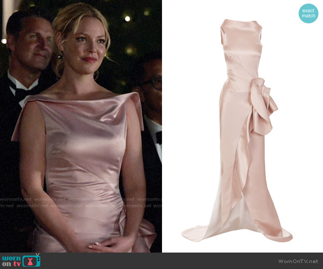 Maticevski Uniflora Satin Sleeveless Gown worn by Samantha Wheeler (Katherine Heigl) on Suits