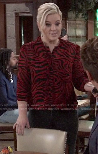Maxie's red zebra print top on General Hospital