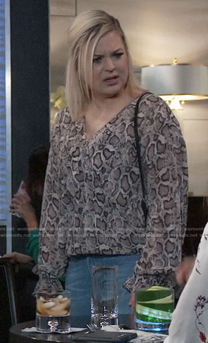 Maxie's snake print wrap blouse on General Hospital