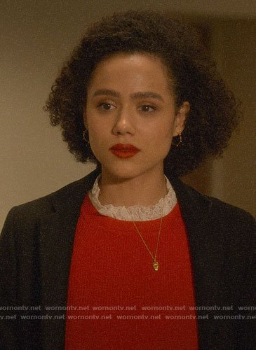 Maya's red lace neck sweater on Four Weddings and a Funeral