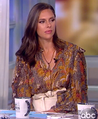 Abby's metallic paisley blouse on The View