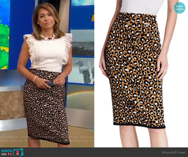 Leopard-Print Pull-on Pencil Skirt by Michael Michael Kors worn by Ginger Zee  on Good Morning America