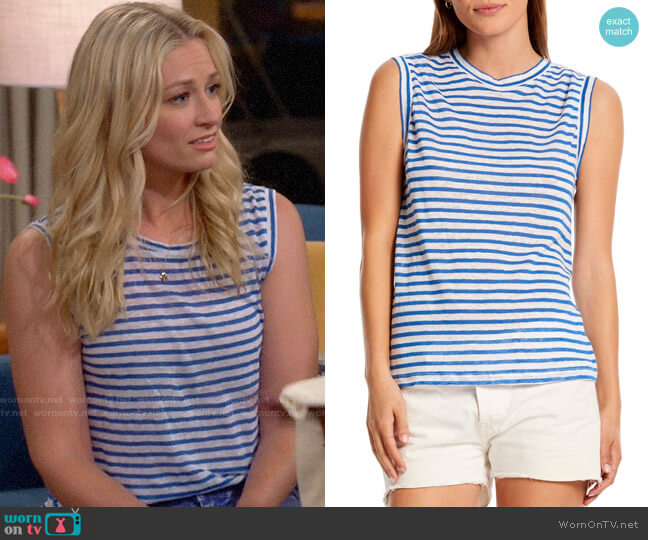 Michael Stars Iris Stripe Linen Tank worn by Gemma (Beth Behrs) on The Neighborhood