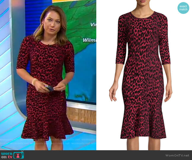 Textured Leopard Mermaid Dress by Milly worn by Ginger Zee  on Good Morning America