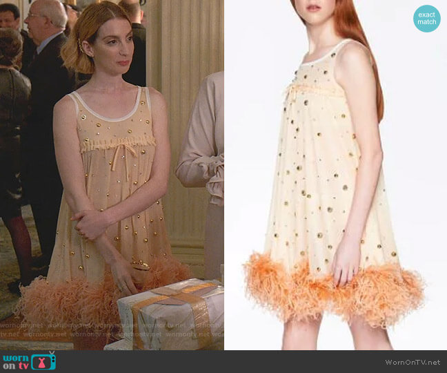 Feather-Trimmed Mini Dress by Miu Miu worn by Lauren (Molly Bernard) on Younger