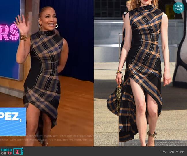 Asymmetric Plaid Crepe Midi Dress by Monse worn by Jennifer Lopez on GMA