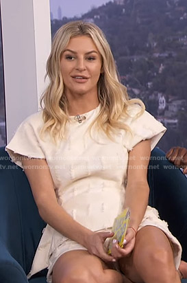 Morgan's white peplum top and shorts on E! News Daily Pop