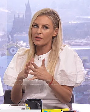 Morgan's white puff sleeve top on E! News Daily Pop