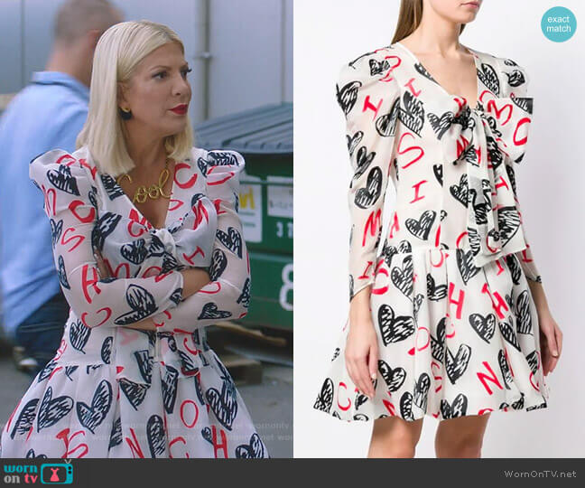 Heart Print Dress by Moschino worn by Tori Spelling  on BH90210