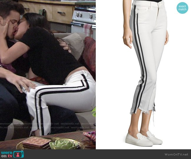 Mother Insider Crop Step-Fray Straight-Legs Jeans w/ Racing Stripes worn by Lola Rosales (Sasha Calle) on The Young & the Restless