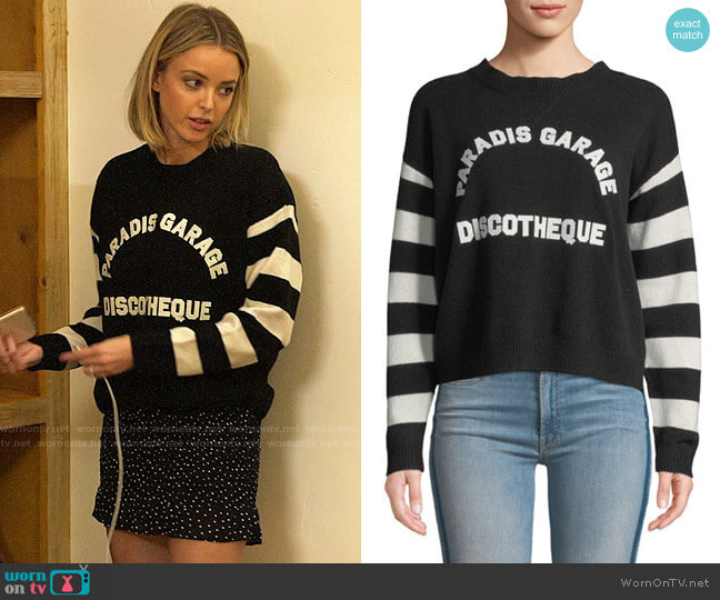 Mother The Boxy Jumper Striped Graphic Pullover Sweater worn by Kaitlynn Carter  on The Hills New Beginnings