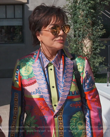 Kris's multicolored blazer and blouse on Keeping Up with the Kardashians