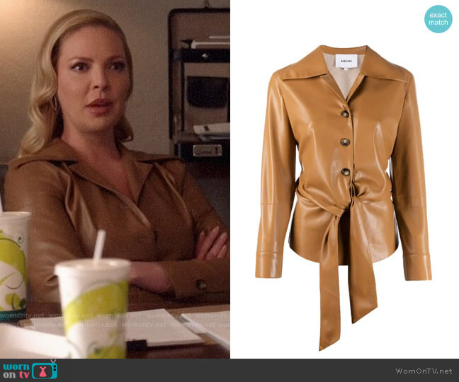 Nanushka Poppy Faux Leather Overshirt worn by Samantha Wheeler (Katherine Heigl) on Suits