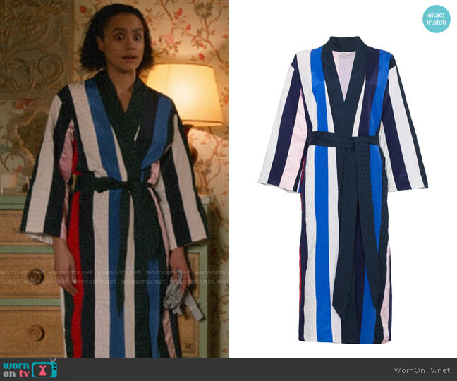Natasha Zinko Striped Midi Robe worn by Maya (Nathalie Emmanuel) on Four Weddings & a Funeral