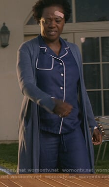 Annalise's blue piping trim pajamas on How to Get Away with Murder