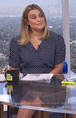 Carissa's navy polka dot dress on The View