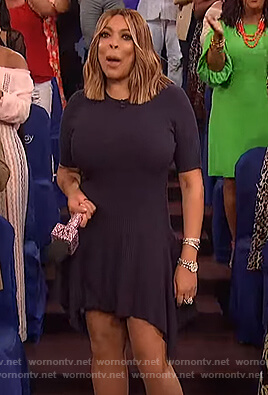 Wendy's navy ribbed dress on The Wendy Williams Show