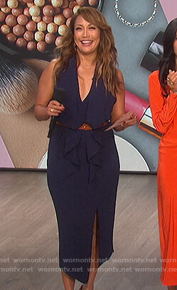 Carrie's navy ruffle front dress on The Talk