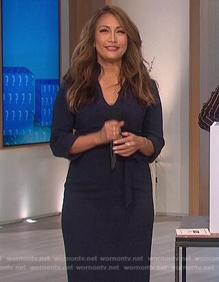 Carrie's navy tie waist dress on The Talk