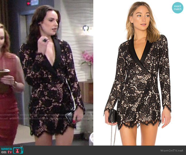 NBD x REVOLVE Que Bonita Lace Tux Dress worn by Tessa Porter (Cait Fairbanks) on The Young & the Restless