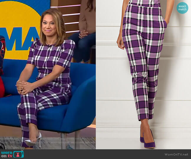 Elise Plaid Pant - Eva Mendes Collection by New York & Company worn by Ginger Zee  on Good Morning America