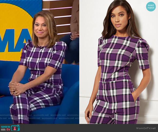 Jayda Plaid Blouse - Eva Mendes Collection by New York & Company worn by Ginger Zee  on Good Morning America