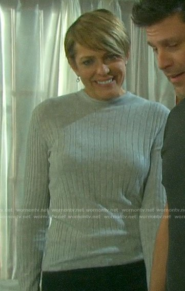 Nicole's grey ribbed sweater on Days of our Lives