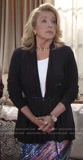 Nikki's cord belted cardigan on The Young and the Restless