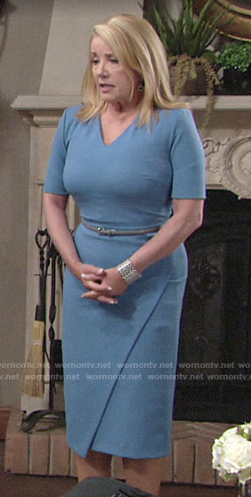 Nikki's blue v-neck sheath dress on The Young and the Restless
