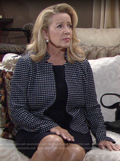 Nikki's navy dotted jacket on The Young and the Restless
