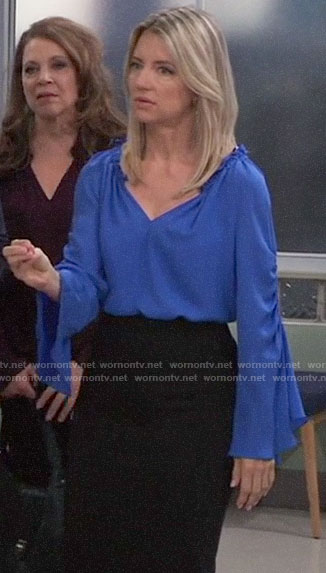 Nina's blue bell-sleeve blouse on General Hospital